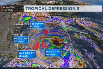 Crystobal forms in the Gulf of Mexico,becomes third named storm of the season