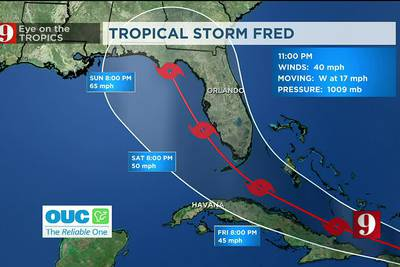 Tropical Storm Fred develops south of Puerto Rico, bringing potential for more rain to Florida